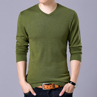 New 2017 Spring And Autumn V Neck Solid Men Sweater Brand Leisure Knit Large Size S