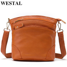 WESTAL Womens Shoulder Bag Female Genuine Leather Bags for Women Messenger Bags Small Leather Shoulder Crossbody Bag Flap 8363