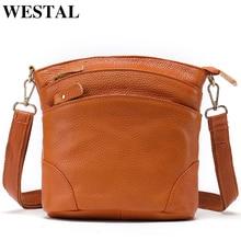 WESTAL bolso de cuero genuino de las mujeres bolsos de mensajero/bandolera para las mujeres bolso de hombro pequeños bolsos de señora y 8363