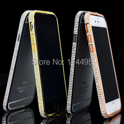 Luxury Rhinestone Crystal Czech Gold Diamond Metal case women i6 Bumper Frame Bling Case Apple iPhone 6 4.7 - creagua store