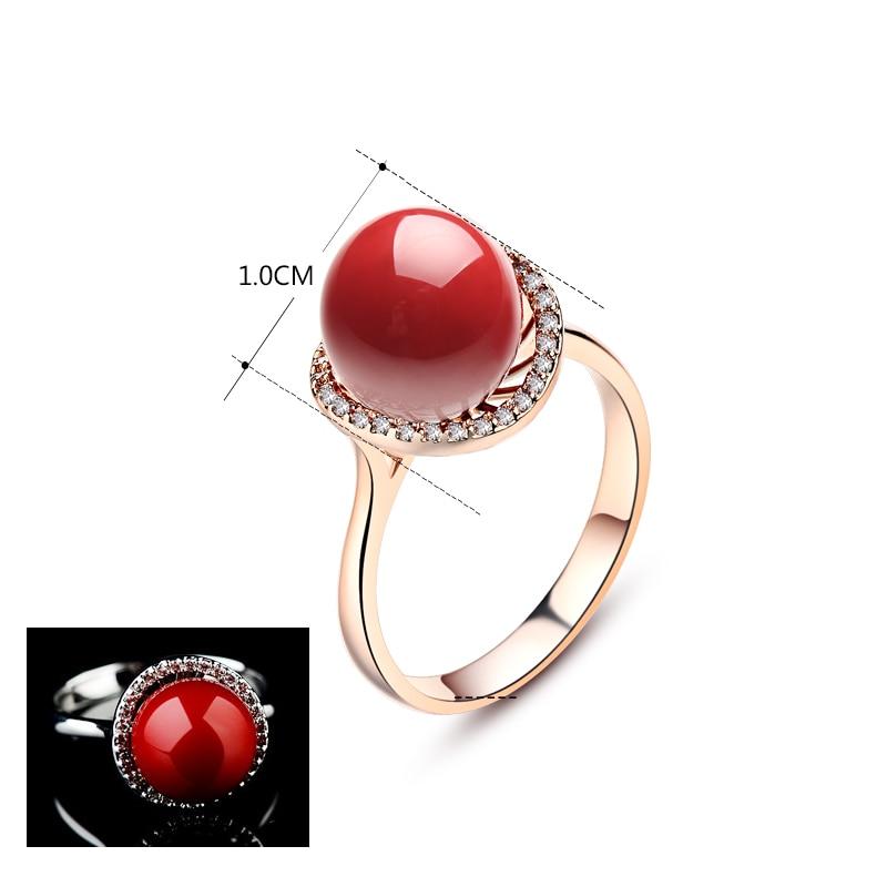 Anel Wanita Merah Buatan Karang Cincin Rose Gold Anel De Pedra - Perhiasan fashion - Foto 2