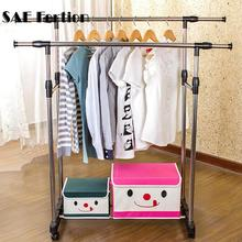 Duty Double Rod Racks Floor Drying Indoor And Outdoor Stainless Rails Adjustable Telescopic Rolling Clothing Garment Rack