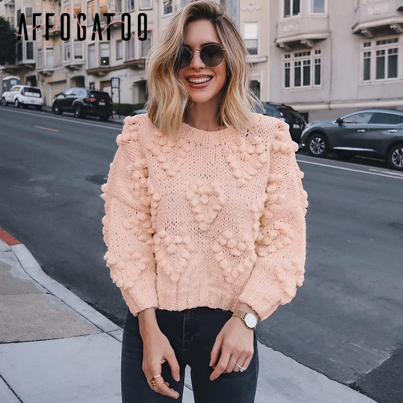 Affogatoo Casual Pompon Autumn Winter Knitted Pink Sweaters Women O Neck Long Sleeve Pullover Female Fashion Loose Ladies Jumper