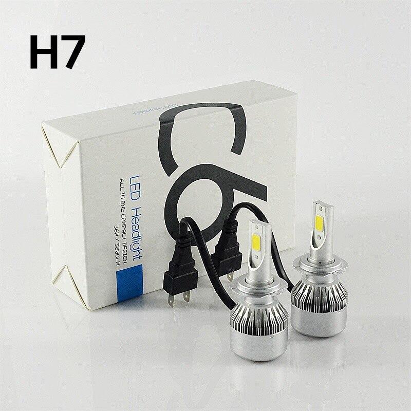 ФОТО KSEGA C6 H7 COB LED Headlight  60W 6000LM Car LED Headlight Bulbs Fog Light 6500k White 6000K 12V