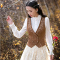 Spring Autumn Art Retro Embroidered Imitation Deer Velvet V-Neck Women Sleeveless Vest Dark Khaki S/M/L/XL