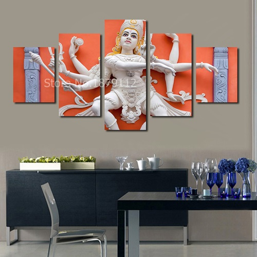 multiple hands buddha indian lord 5 pieces combiantions canvas wall
