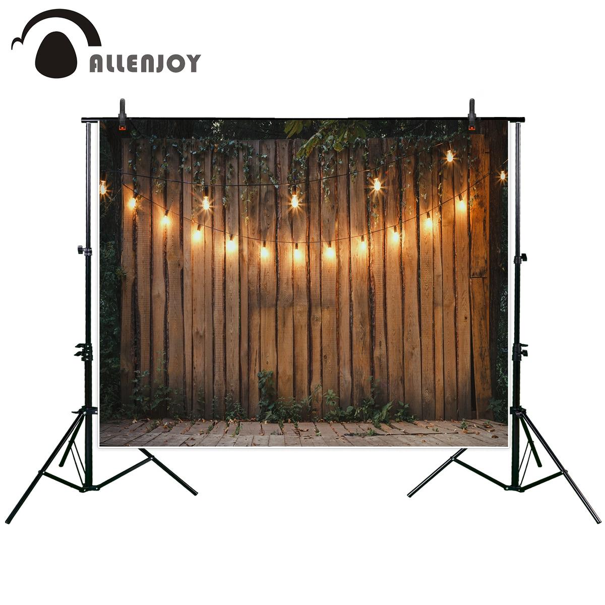 Allenjoy photography backdrop Wooden background lighting garland festive strings round lamps background new original design