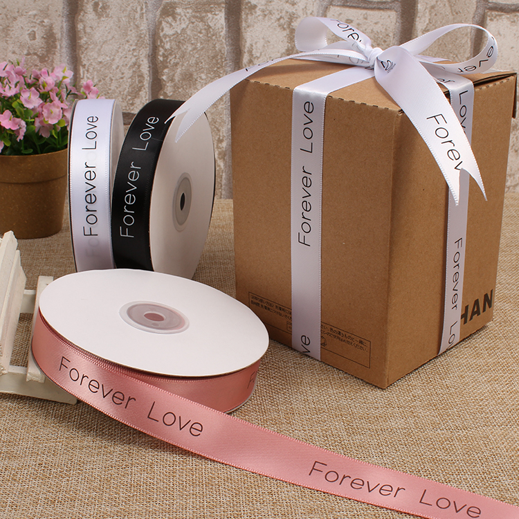 20mm 50Yards  45 Meters Forever Love Printed Satin Ribbon Packing Ribbons Decorative Gift Packing Wedding Crafts