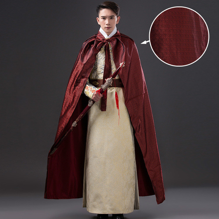 high quality chinese folk costume men long cloak chinese