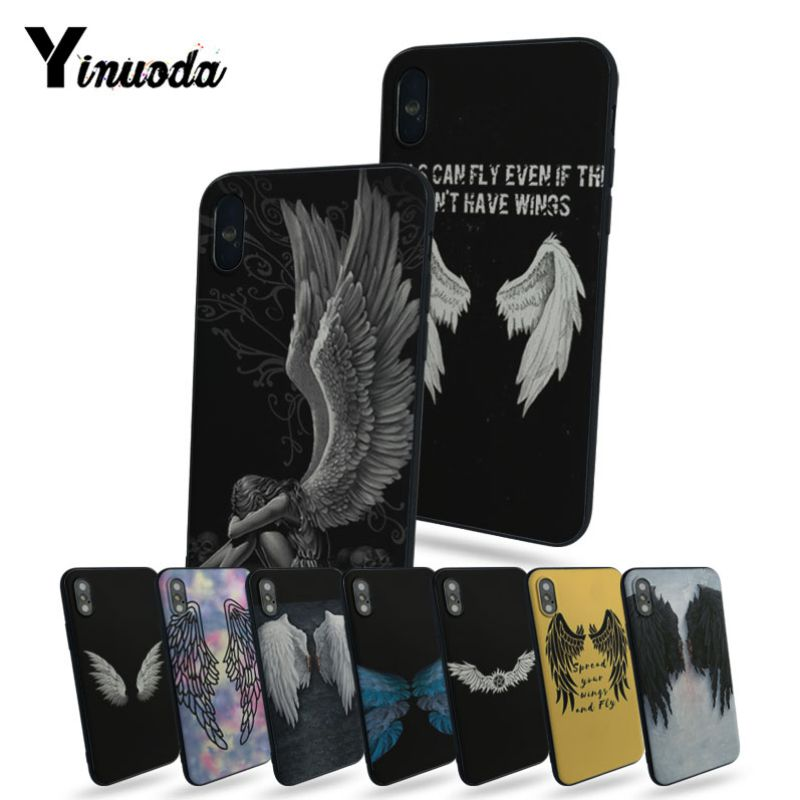 Yinuoda Angel Wings phone case silicone For iphone X 8plus 7plus SE Phone Case 6s 7 8 cases