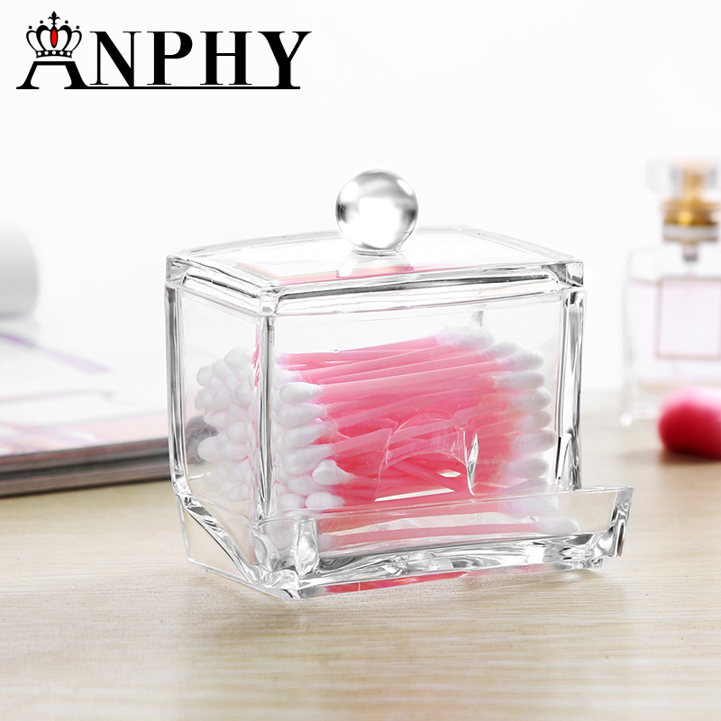 New Clear Acylic Storage Box Clear Q-tip Holder Box Cotton Swabs Stick Jewelry Storage Cosmetic Makeup Storage Box C33