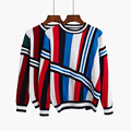 2017 new round neck long sleeve knit dress stripe splicing loose render sweater    c082