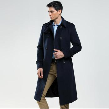 Spring autumn casual woolen coat men trench coats long sleeves England overcoat mens cashmere coat england winter black blue