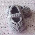 Del Bebé Del ganchillo Zapatos de Niña, bebé de Mary Jane Shoes, ganchillo Zapatillas