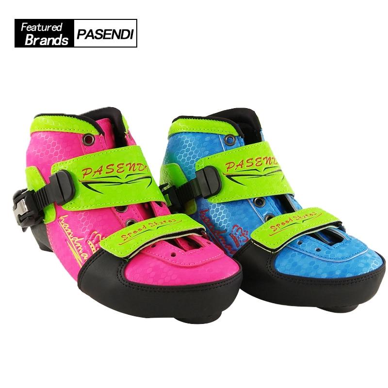 PASENDI Adjustable Skates Kids Roller Skate Shoes Child Inline Skating Boots Pink Blue 4 Size Adjust For Children Skate Shoe casio casio w 210 1d
