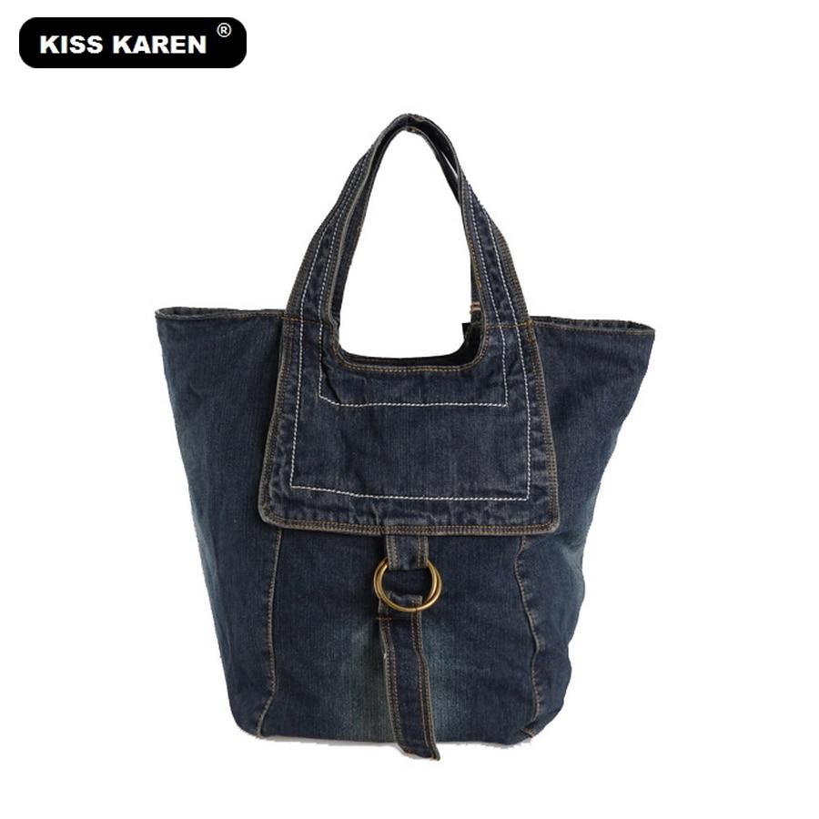 KISS KAREN Fashion Women Casual Tote Lady Handbags Denim Bag Womens Shoulder Bags Plus Size Jeans Bag Womens Tote Bags