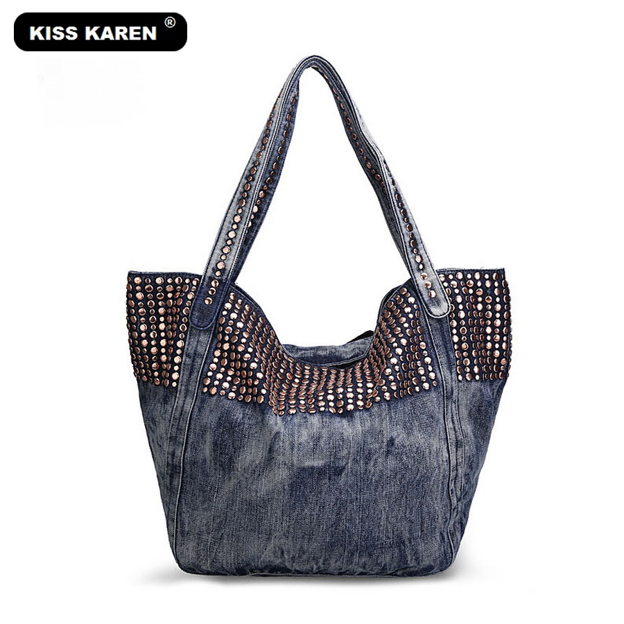 KISS KAREN Remaches de moda Denim Totes Mujer Studs Bag Luxury Lady - Bolsos