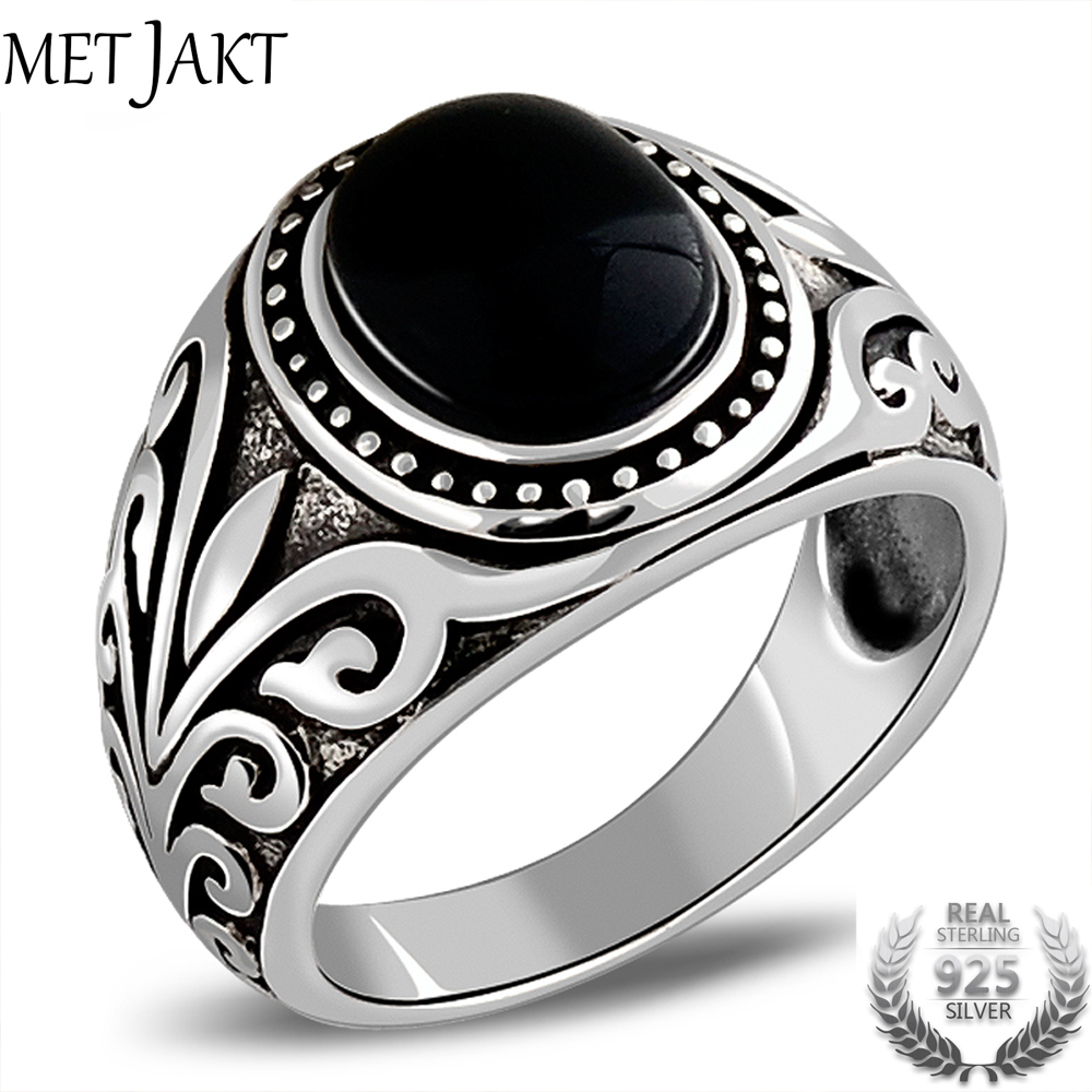 MetJakt Natural Agate/Garnet Ring With Ancient Cane Pattern Solid 925 Sterling Silver Ring For Men Vintage Thai Silver Jewelry