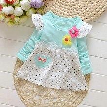 Kid Girls Dress Autumn Children Clothing Polka Dot Long Sleeve Floral Sundress Outfits Clothes недорго, оригинальная цена