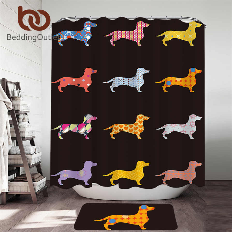 BeddingOutlet Cartoon Dog Shower Curtain Dachshund 2pcs Kids Bath Curtain Set With Doormat Pet Bathtub Decor 180x180cm Drop Ship