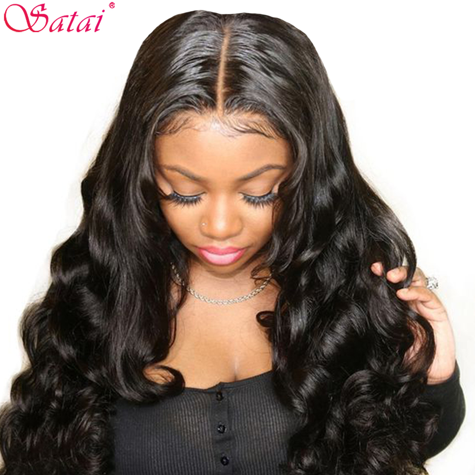 Satai Body Wave Lace Front Human Hair Wigs For Women Pre