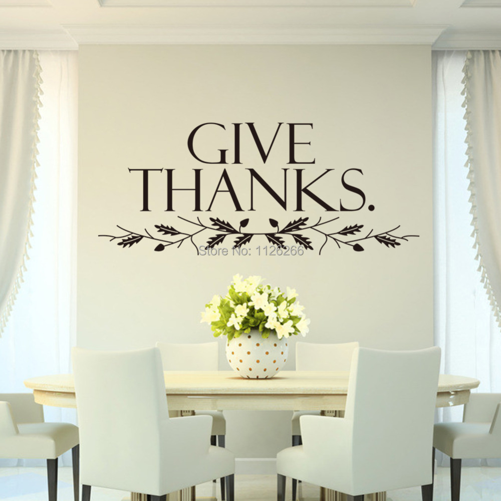 aliexpresscom  buy removable wall sticker quotes give thanks  - aliexpresscom  buy removable wall sticker quotes give thanks wall artdecorative decals room decor from reliable decorative mirror wall stickerssuppliers