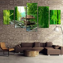 Modular Painting Canvas Wall Art Pictures Home Decor 4 Pieces Green Bamboo Wooden House River Landscape Modern Poster Framework(China)