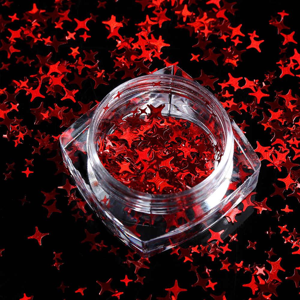 1 Box 3 Mm 4 Mm Campuran Ukuran Empat Sudut Bintang Kuku Tipis Paillette Serpihan Laser Glitter Payet DIY manikur Makeup Tubuh Seni Dekorasi