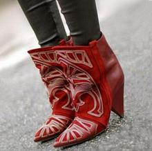 Hot Fashion Red Suede Ankle Boots Embroidered Lady Spike Heels Shoe Cowboy Short Women Slip-on Pointed Toe Booties