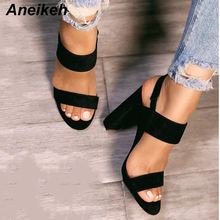 Aneikeh 2019 Gladiator Sandals Fashion Women Sandals High Heels Open toe Ankle Strap Faux Suede Shoes Size 35-40 Pumps Black