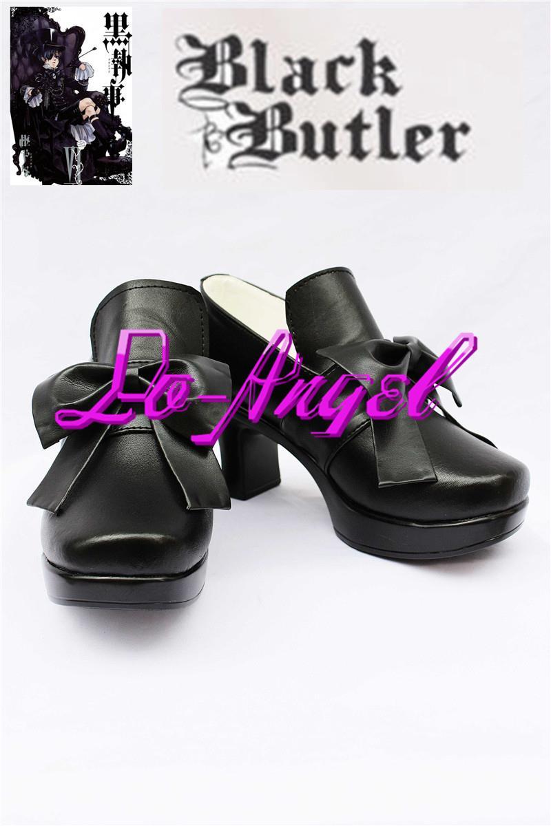 8f82240e1 Tampa do Anime Black Butler Ciel Phantomhive Cosplay Preto Sapatos de  Tamanho Personalizado