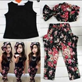 Fashion floral casual suit children clothing set sleeveless outfit headband flower summer new kids girls clothes   set