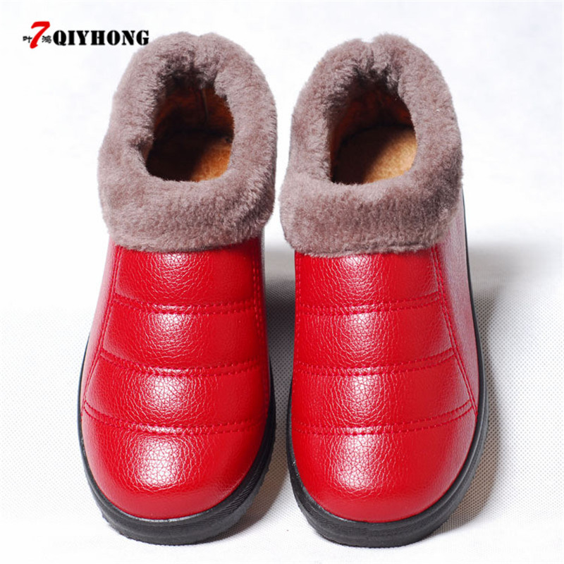 New Arrival Waterproof Women PU Leather Snow Boots Warm Short Plush Ankle Boot Female Winter Shoes Woman Large Big Size 35-40 цена и фото