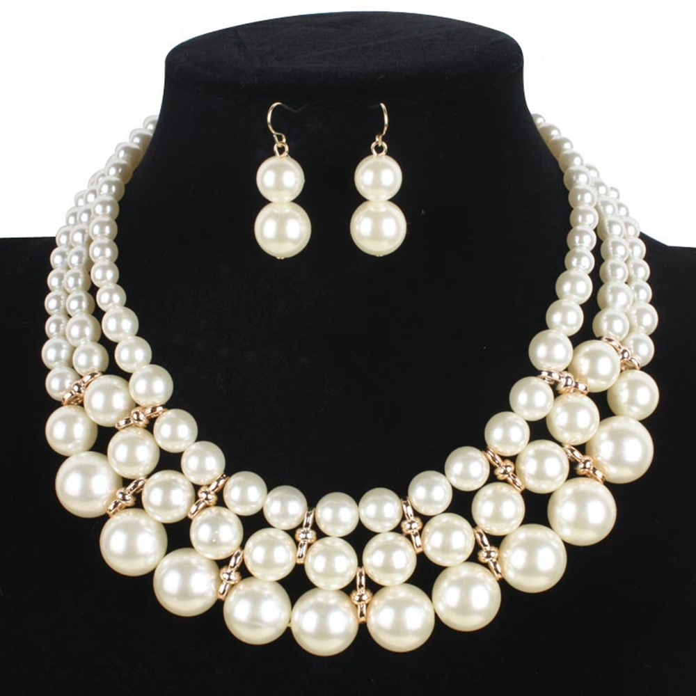 Jewelry Set European Women Fashion Necklace Earrings Simple simulated Pearl Pendant african beads Gold Color Wedding Sets 2017