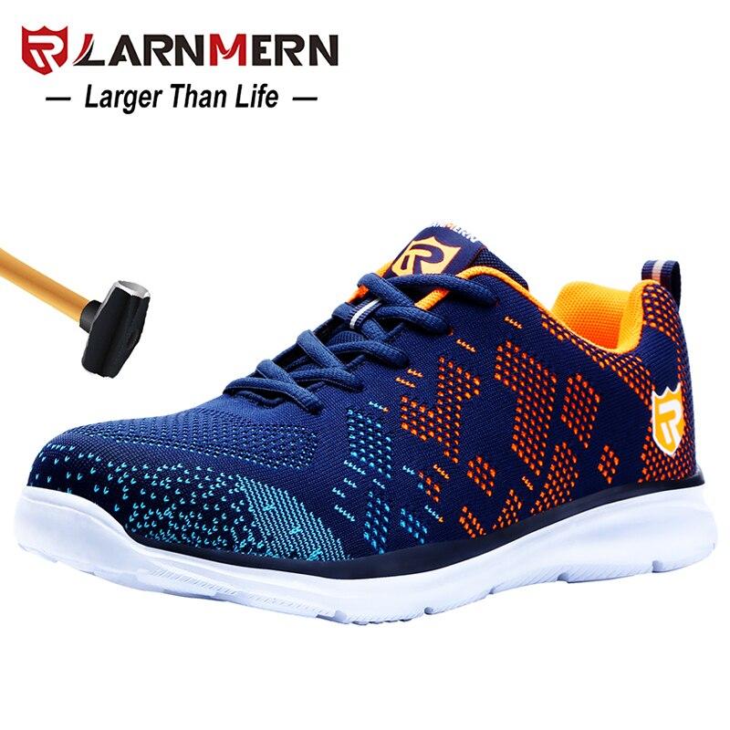 LARNMERN lekkie oddychające męskie obuwie ochronne stalowe Toe obuwie robocze dla mężczyzn Anti-smashing konstrukcja Sneaker z odblaskiem