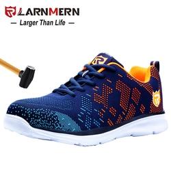 Zapatos de seguridad transpirables ligeros LARNMERN para Hombre Zapatos de trabajo de punta de acero para hombres zapatillas de construcción antigolpes con reflectante