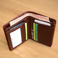 LANSPACE genuine leather men wallets designer coin purses holders large capacity purse