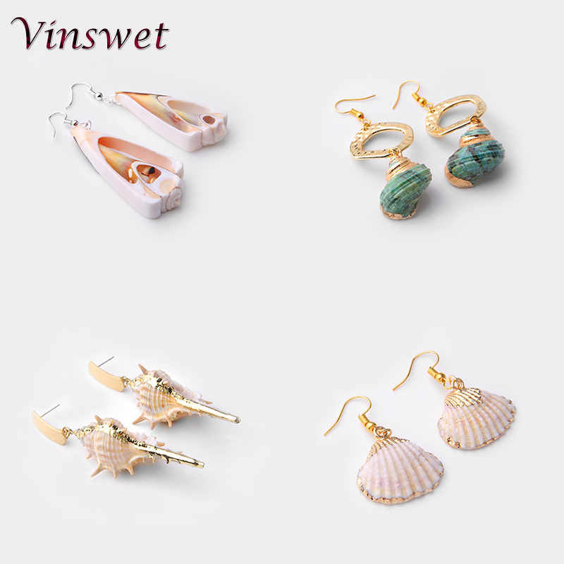 Vinswet Sea Shell Drop Earrings For Women Gold Color Cowrie Statement Earrings 2019 Summer Beach Boho Jewery Hanging Dangle Gift