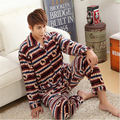 Men lapel Cardigan Button pajamas cotton winter Flannel Large size Long-sleeved trousers Leisure Home clothing Thickening