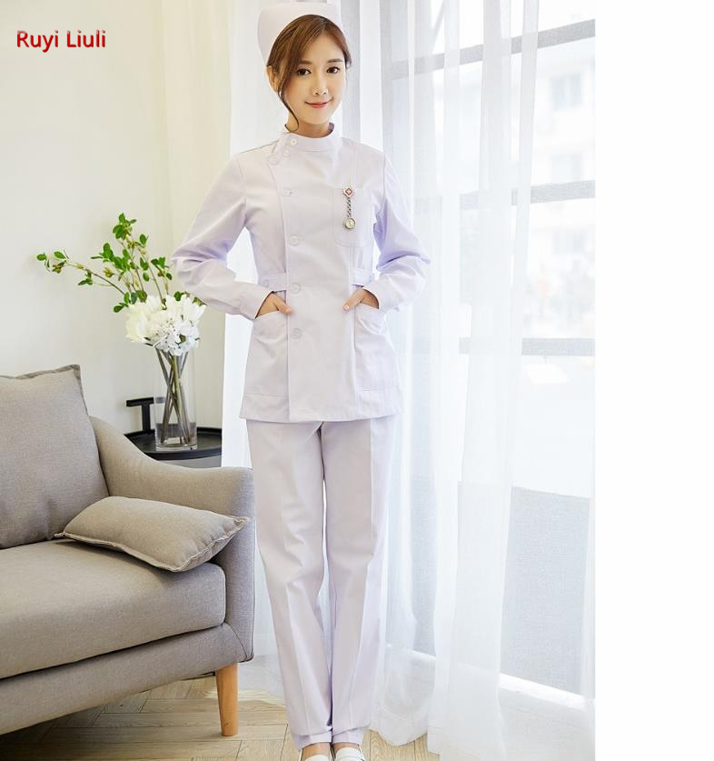 Nurses Wear A White Suit With Long Sleeves, Short Collar And Short Neck, Doctor's White Coat Work Clothes Female