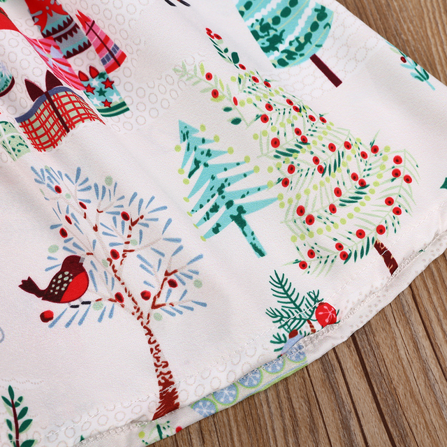 2-6 Years Xmas Toddler Kid Baby Girl Christmas Cartoon Deer Sleeveless Party Dress 4