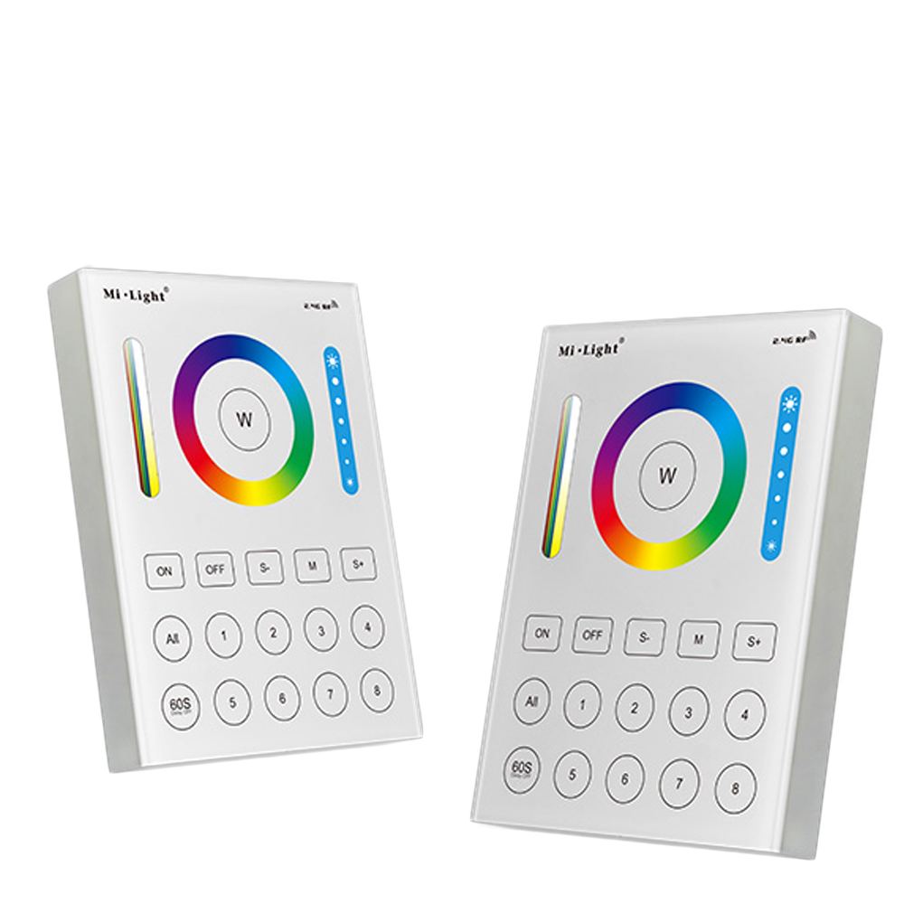Mi.Light B8 8 Zones RGBW Wall Mount Panel Controller RGB CCT remote Controller for LS2 Milight Floodlight RGB+CCT Bulbs light mi light 2 4g 8 zone rf dimmer fut089 remote b8 touch panel wall mounted rgbw wifi ls2 led controller for rgb cct led strip