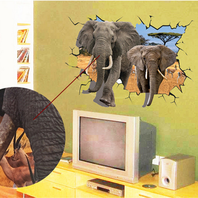 3D Elephants Wall Sticker
