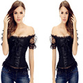 2016 New Bowknots Sweetheart Lace up Back white black Girl Corset shoulder strap Boned Basque Bustier Top with Sleeve steampunk