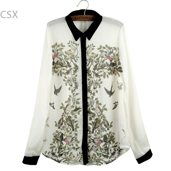 New Fashion White + Black Women's Lapel Long Sleeve Contrast Color leiothrix Pattern Flower Shirt Chiffon Blouse 3 size S