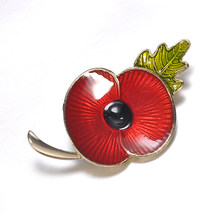 New vintage Red Enamel Poppy Flower Brooch Pin Broach for women men Badge Banquet Remembrance Jewelry Accessories(China)