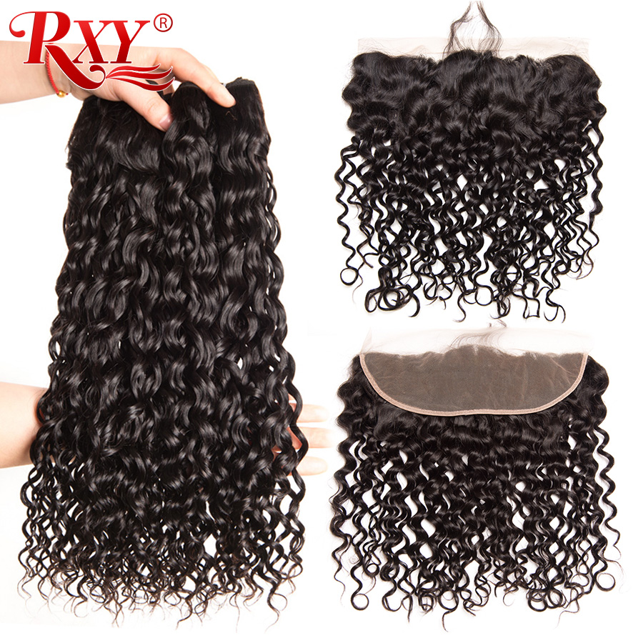 RXY Water Wave Bundles with Frontal Brazilian Hair Weave Bundles Human Hair Ear to Ear Lace