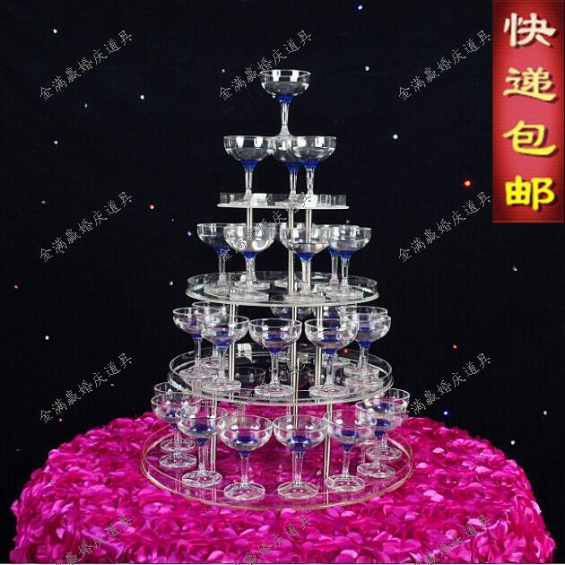 Tour à champagne de mariage à 4 niveaux | Accessoires d'approvisionnement de mariage à 4 niveaux, tour à vin en acrylique clair, gobelet à 4 couches, tour à champagne