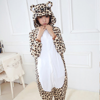 Leopard Bear Onesies Unisex Adults Animal Pajamas Flannel Hoodie Cosplay Costume Jumpsuit Home Clothes