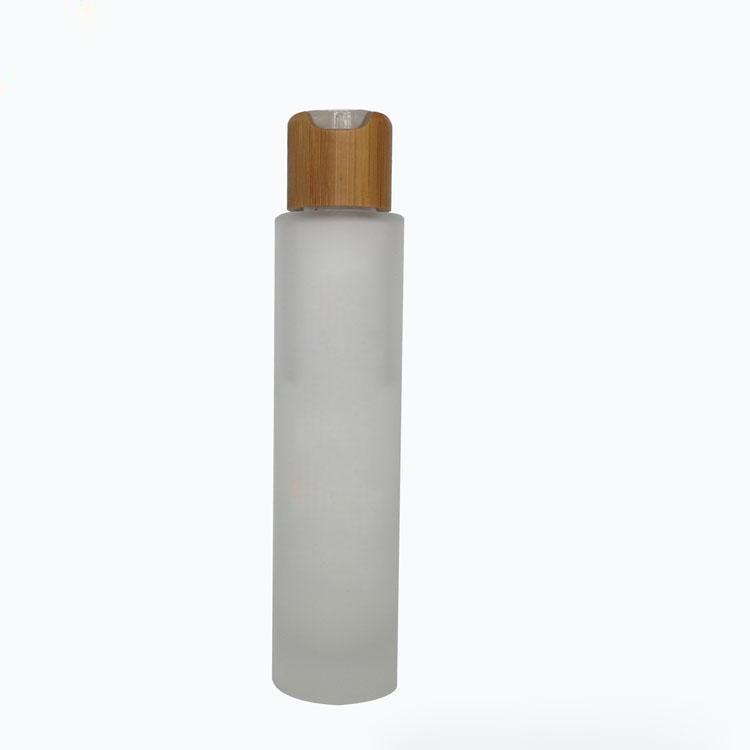 100ML Frosted Glass Bottles with Bamboo Pump , Empty Cosmetic Packaging Bottles free shipping. three 100ml